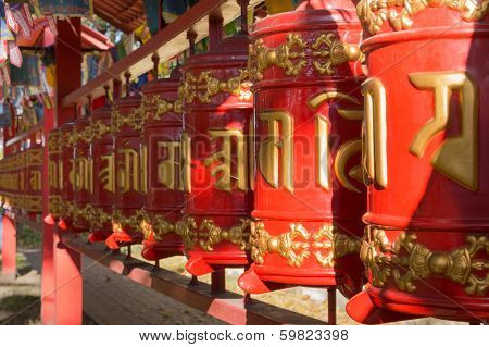 Prayer Wheels With Mantra, Sanskrit Text