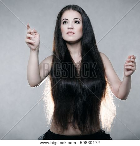 Beautiful woman with very long hair