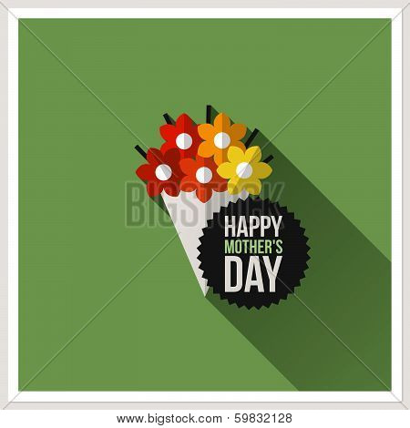 Happy Mother's Day. Flat Design Greeting Card With Colorful Bouquet