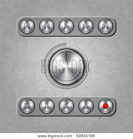 Vector set of audio system knobs on textured background
