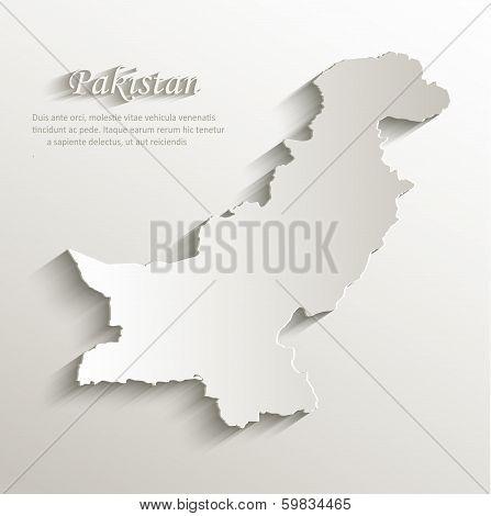 Pakistan map card paper 3D natural vector