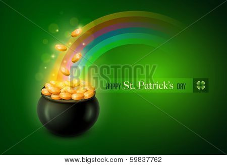 Vector St. Patrick's Day symbol. Pot of Gold. Elements are layered separately in vector file.