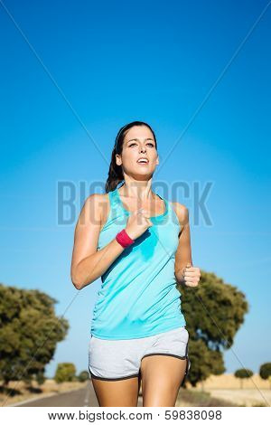 Woman Training For Running Summer Marathon