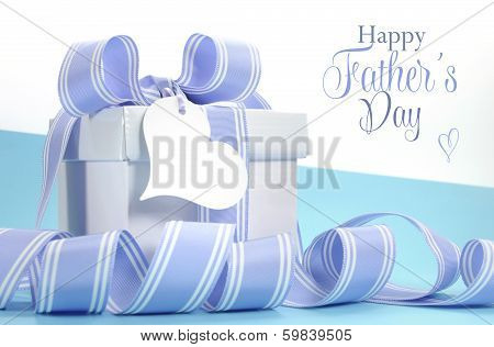 Blue Fathers Day Gift With Beautiful Stripe Ribbon