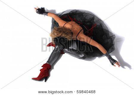 Modern balet dancer on the floor