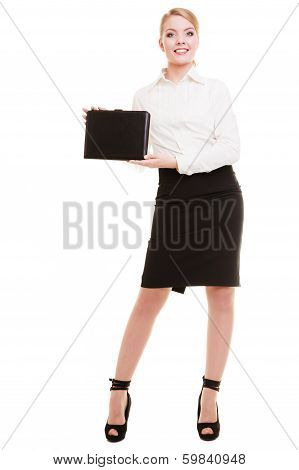Full Length Of Young Businesswoman Showing Document Case