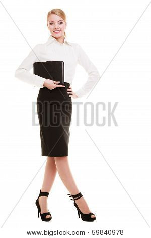 Full Length Of Young Businesswoman Holding Document Case