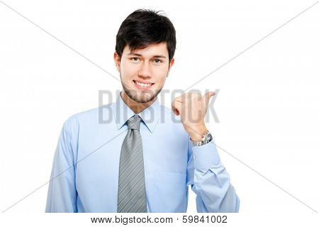 Young businessman pointing to the right. You can basically add whatever you want.