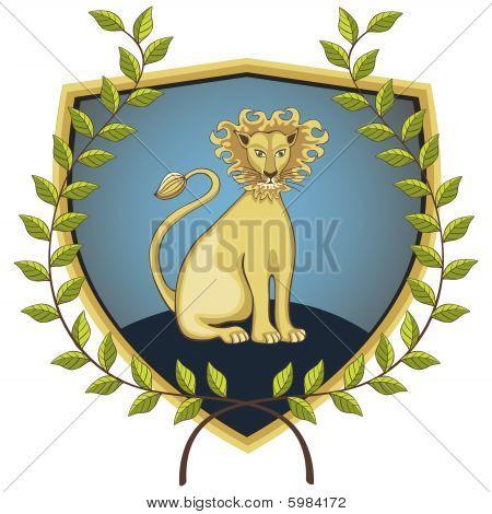Lion in laurel wreath