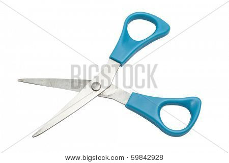 Blue scissors isolated on white background