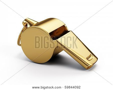 Gold whistle isolated on white