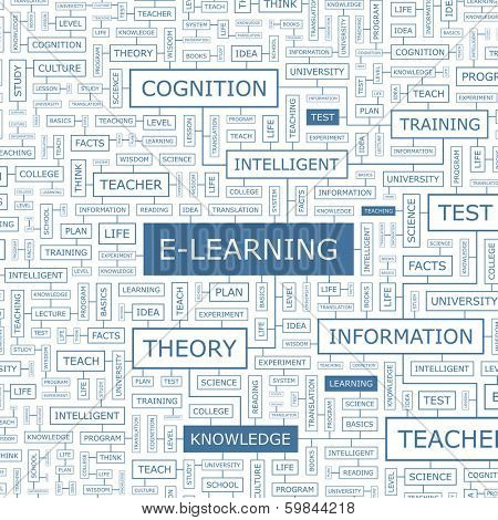 E-LEARNING. Concept illustration. Graphic tag collection. Wordcloud collage. Vector illustration.