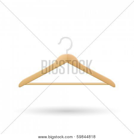 Wooden hanger vector illustration isolated