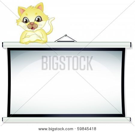 Illustration of a  yellow cat leaning over the empty bulletin board on a white background