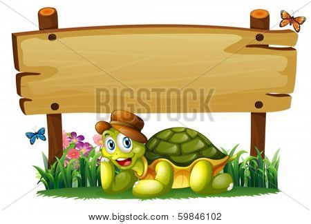 Illustration of a smiling turtle below the empty wooden board on a white background