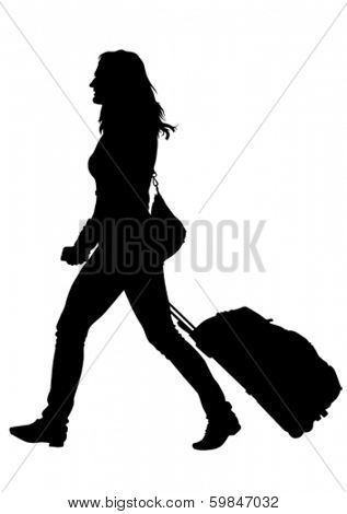 Younge women whit travel big suitcases