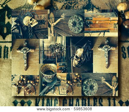 Creative abstract conceptual collage of several antique elements including a crucifix and skull with overall vintage toning