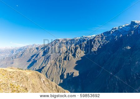 Colca Canyon, Peru,south America. Incas To Build Farming Terraces With Pond And Cliff. One Of Deepes