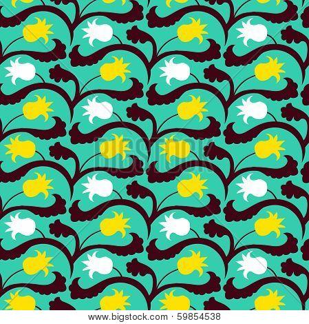 Suzani pattern with Uzbek and Kazakh motifs