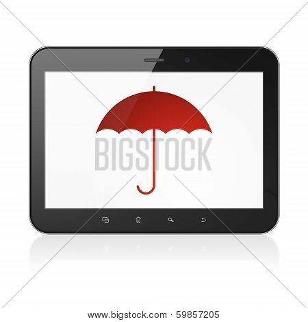Privacy concept: Umbrella on tablet pc computer