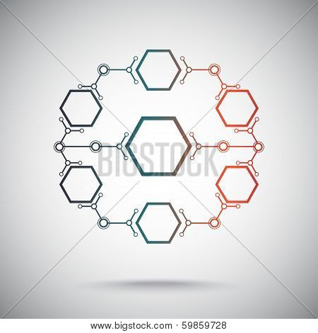 Closed Circuit Of Hexagonal Cells. Gradient