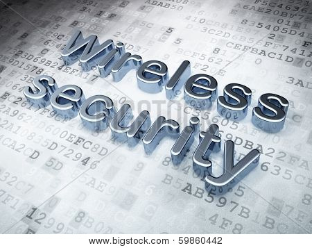 Protection concept: Silver Wireless Security on digital background