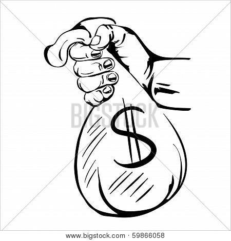 hand holding money bag sketch cartoon vector illustration