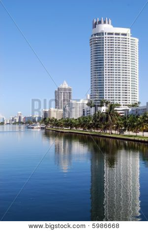 Condo and Hotel Skyline on Collins Avenue in Miami Beach