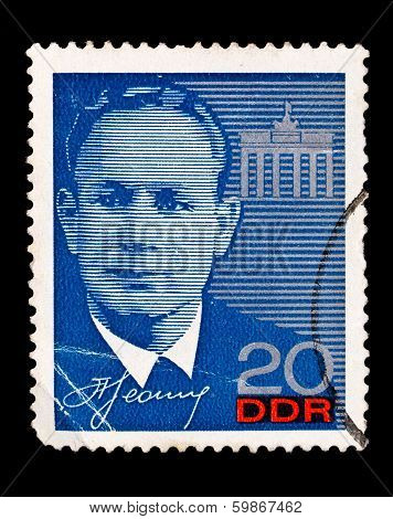 Gdr Stamp, Visit Of Russian Cosmonaut Leonov To Eastern Germany