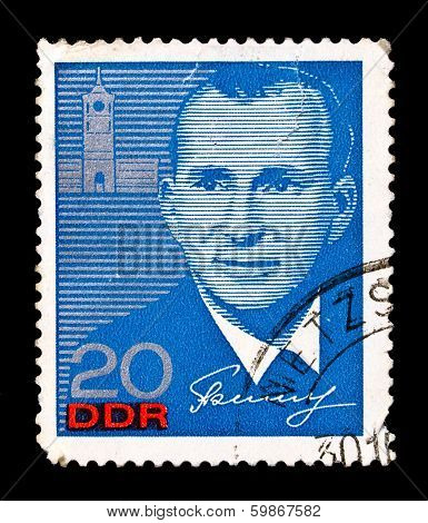 Gdr Stamp, Visit Of Russian Cosmonaut Belyayev To Eastern Germany
