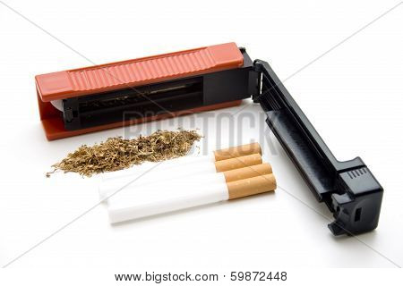 Red Cigarette Device with Filter Tubes and Tobacco