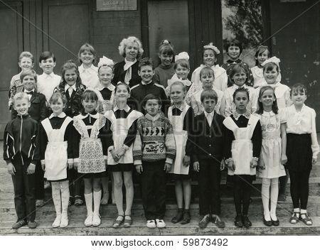 KURSK, USSR - CIRCA 1990:  An antique photo shows group  portrait of school graduates.