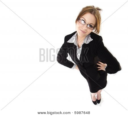 A Young Business Woman In Dress