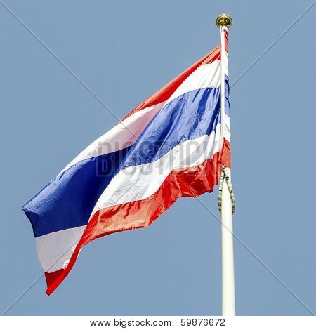 Thai Flag And Bule Sky