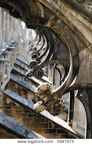 Flying Buttresses, Roof Of Milan Cathedral, Lombardy, Italy