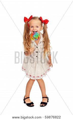 Happy Girl With Large Lollipop