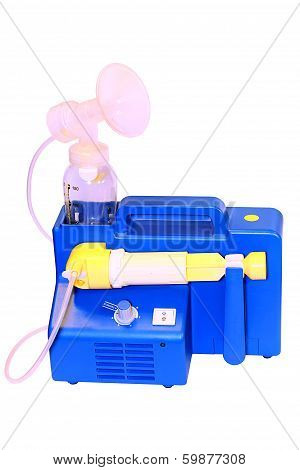 Breast Pump Machine With White Backround Isolated And Vertical