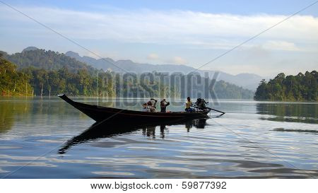 Tourists on an boat at Cheow Lan Lake.
