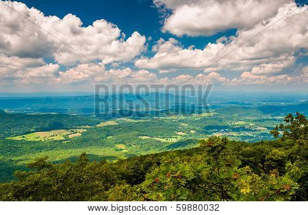 View Of The Shenandoah Valley From The Appalachian Trail In Shenandoah National Park, Virginia.