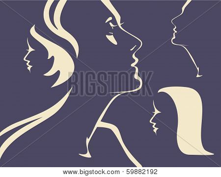 Silhouettes of woman's faces
