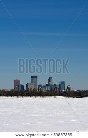 View across frozen lake Calhoun, Minneapolis, Minnesota, USA