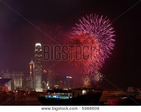 Fireworks in Hong Kong China