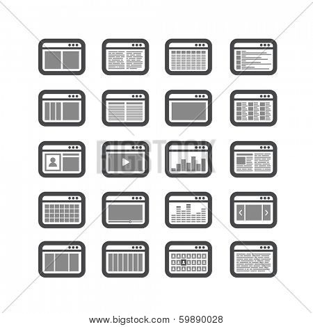 Different web browser icons set with page templates. Design elements