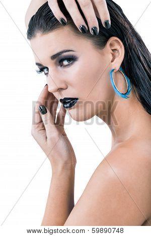 Beautiful Woman In Black Glamour  Makeup