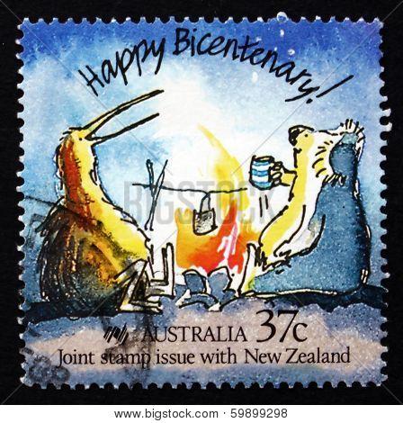 Postage Stamp Australia 1988 Koala And Kiwi, Caricature