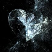 image of glass heart  - Abstract valentine fractal heart of glass over black background - JPG