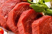 picture of veal  - Raw beef on white background - JPG