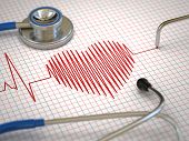 stock photo of ecg chart  - Stethoscope and ECG cardiogram - JPG