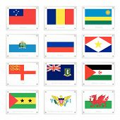 stock photo of sark  - National Flags of Samoa Romania Rwanda San Marino Russia Saba Sark Western Sahara Sao Tome and Principe Islands and Wales on Metal Texture Plates with Screws - JPG