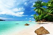 beach on Mahe island, Seychelles